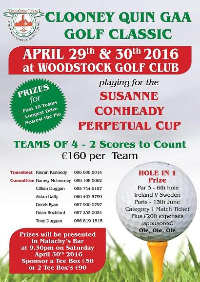 Clooney Quin Golf Classic April 29th/30th