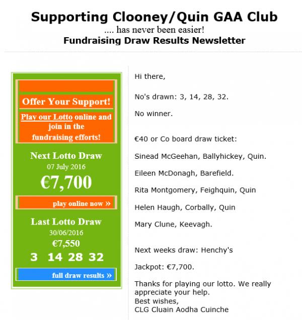 Club Lotto Results