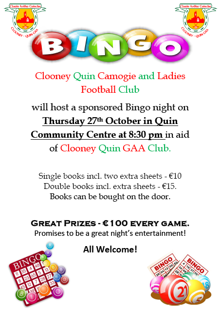 Bingo Night October 27th