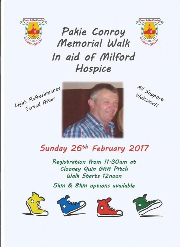 Pakie Conroy Memorial Walk In Aid of Milford Hospice