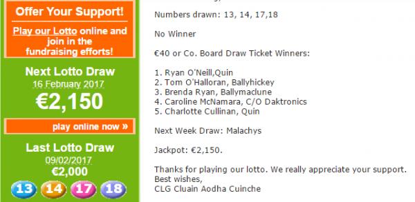 Lotto: New Season Beginning for Clooney Quin GAA Club