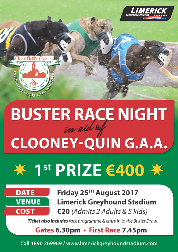 Buster RACE NIGHT in aid of Clooney-Quin Gaa Club