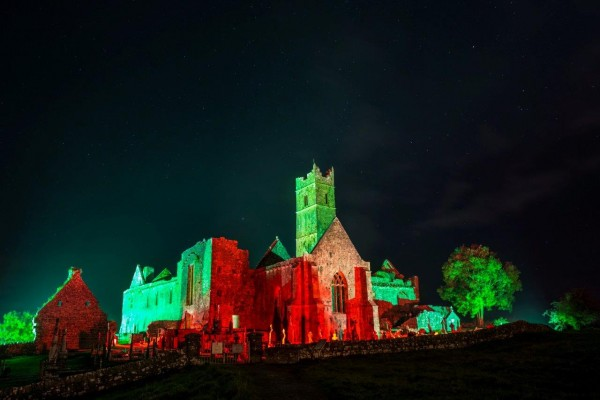 Quin Abbey has turned Green and Red