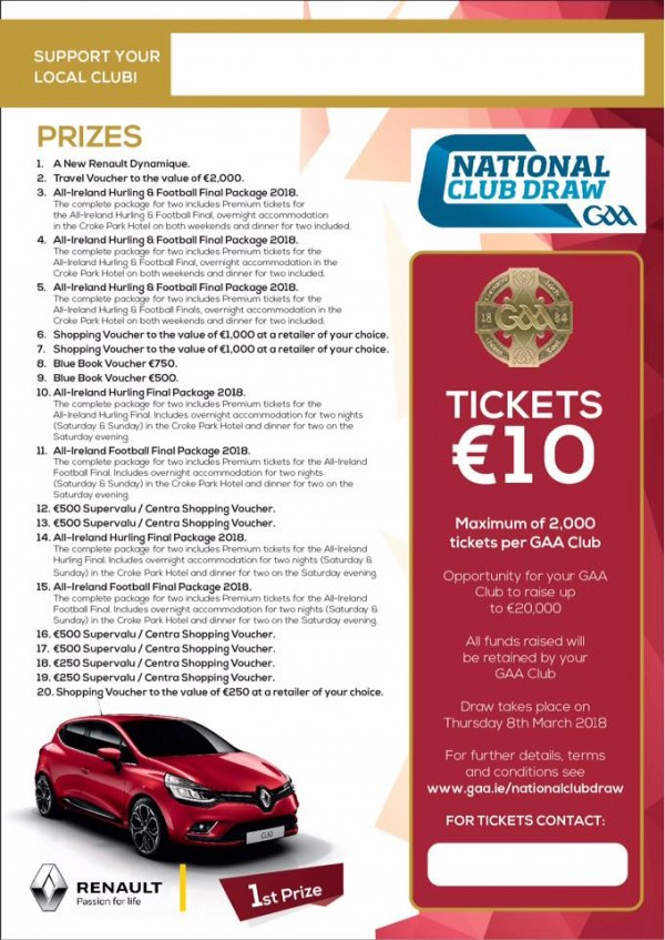 Gaa National Draw Tickets for sale