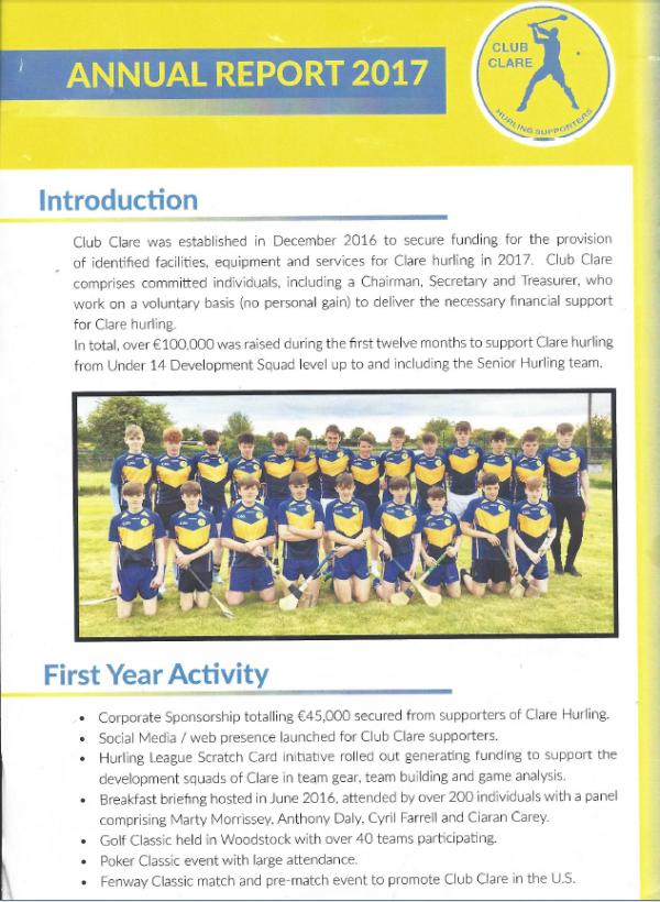 Club Clare 2017 Annual Report