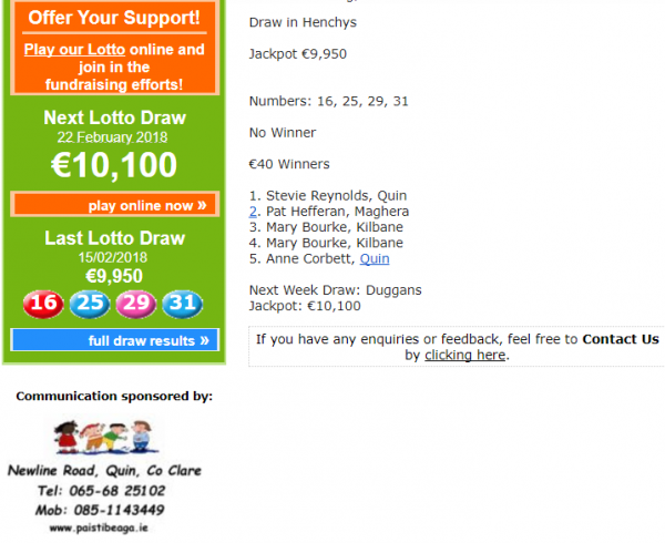 Lotto Results Jackpot now @ €10,100