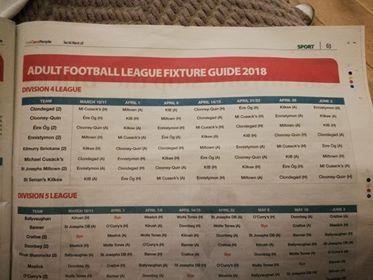 Club Adult Football League Fixtures as 2018 season starts