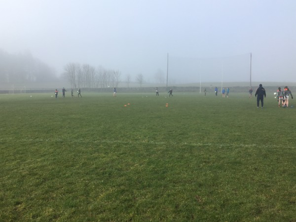 Ladies Football training on a foggy Sunday