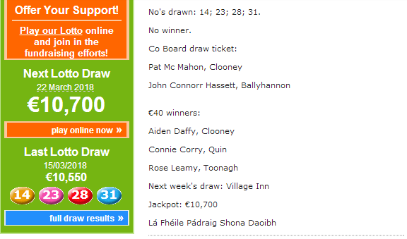Clooney Quin GAA Club Jackpot nearing Eleven Thousand