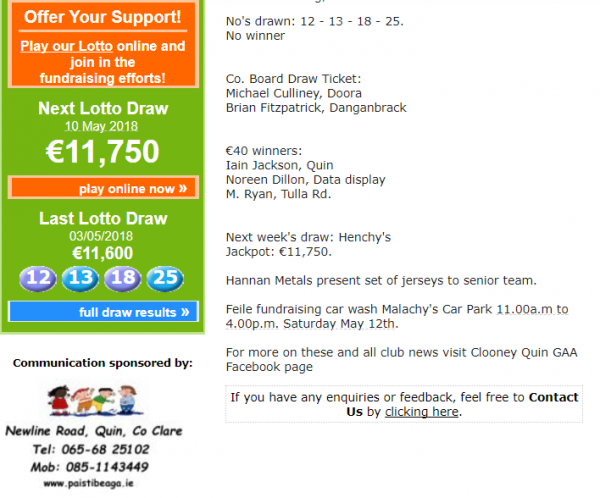 Lotto Results Jackpot now at €11,750
