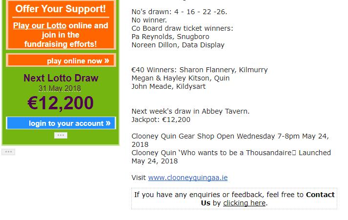 Lotto Results   No Winner   Jackpot €12,200 – Clooney Quin