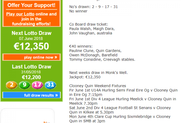 This weeks Lotto Results New Jackpot: €12,350