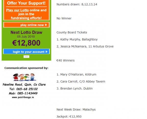 Next Lotto Draw €12,800
