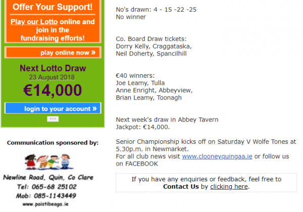 Next Lotto Draw 23 August 2018 €14,000