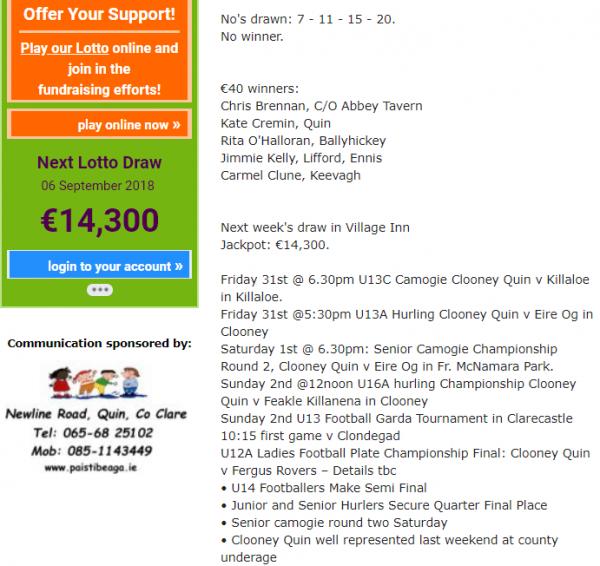 Clooney Quin Lotto Jackpot €14,300