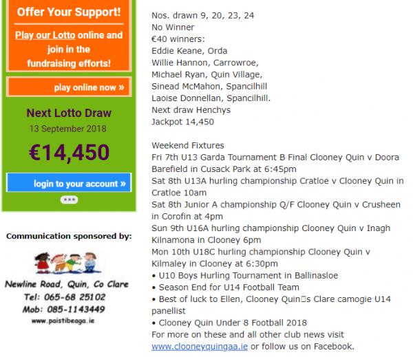 Clooney Quin Lotto Jackpot €14,450