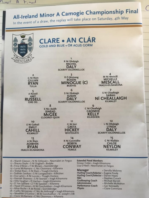Clooney Quin's Sinead lined out at midfield in All Ireland Final