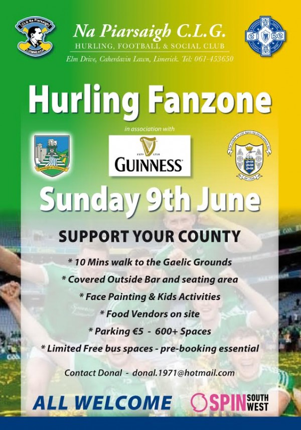Hurling Fanzone in Na Piarsaigh on Sunday June 9th