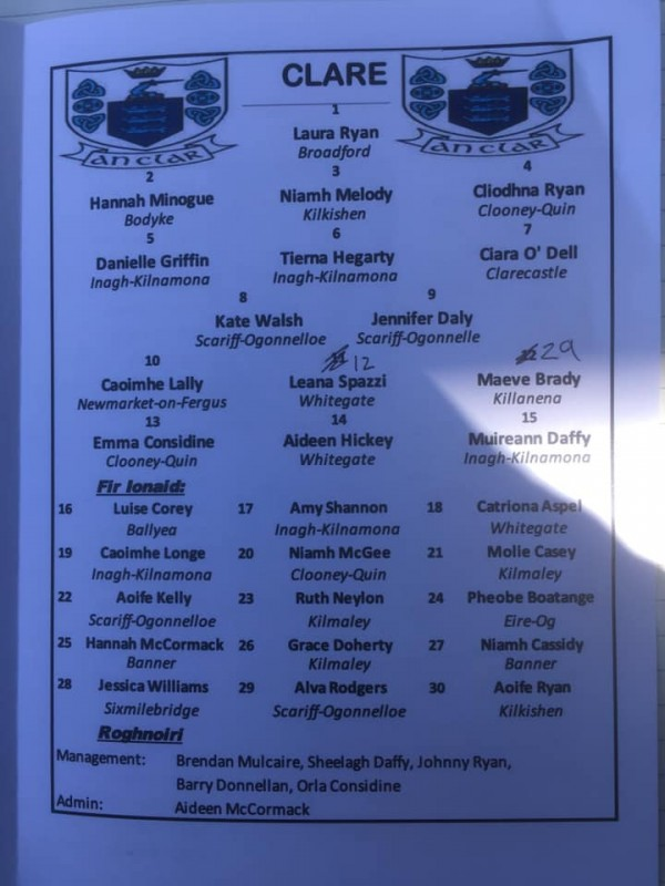 County Camogie Updates, well done all Clooney Quin players